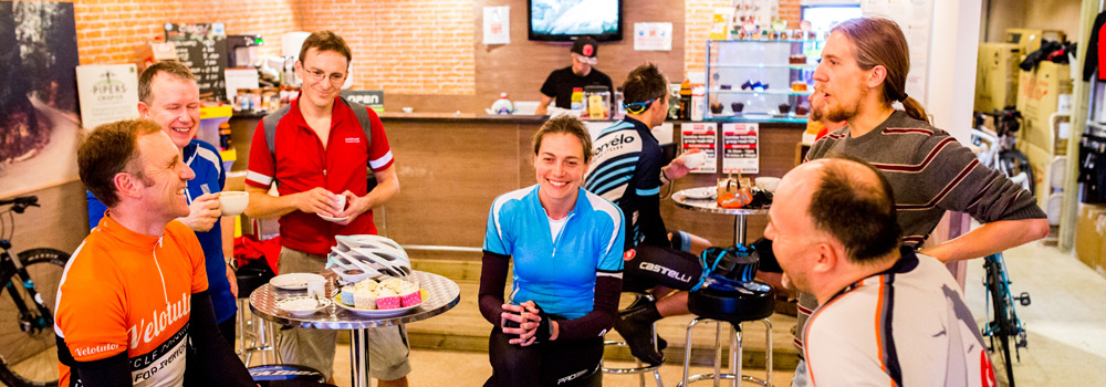 Enjoy a coffee before or after your ride in our cycle cafe